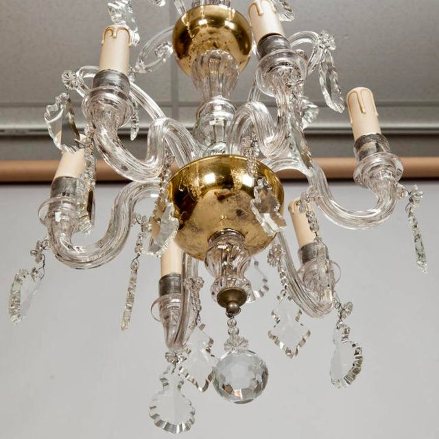 French Tiered All Crystal Six Light Chandelier c.1920 - Image 9 of 9