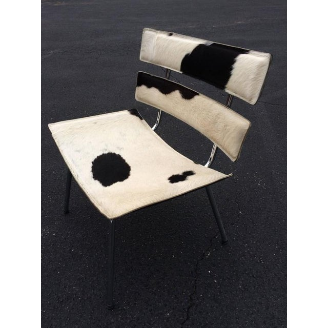 Eames Cowhide & Chrome Eames Style Chair For Sale - Image 4 of 12