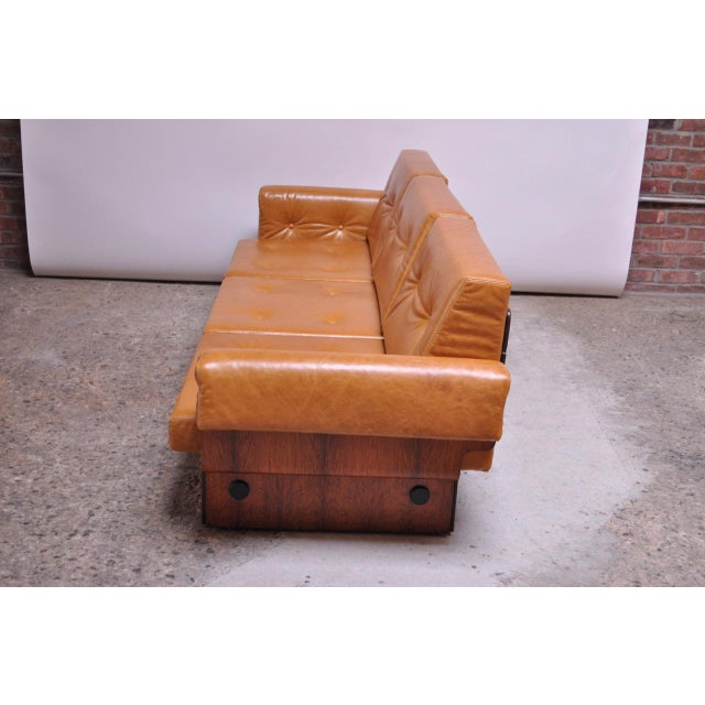 Brazilian Modern Rosewood and Leather Modular Sofa or Settees - 4 Pc. Set For Sale - Image 10 of 13