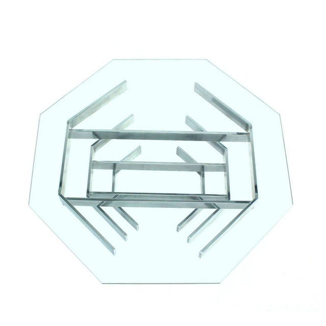 Mid-Century Modern Mid-Century Modern Heavy Stacked Chrome Base Octagonal Coffee Table For Sale - Image 3 of 6