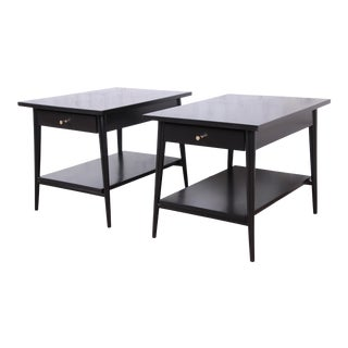 Paul McCobb Planner Group Black Lacquered Nightstands or End Tables, Newly Restored For Sale