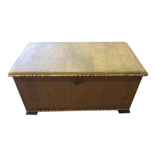 19th Century English Seagrass and Burnt Bamboo Trunk For Sale