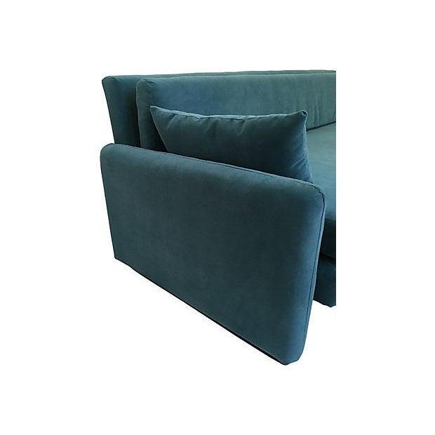 Dominic Michaelis Mid Century Modern Low Velvet Sofa