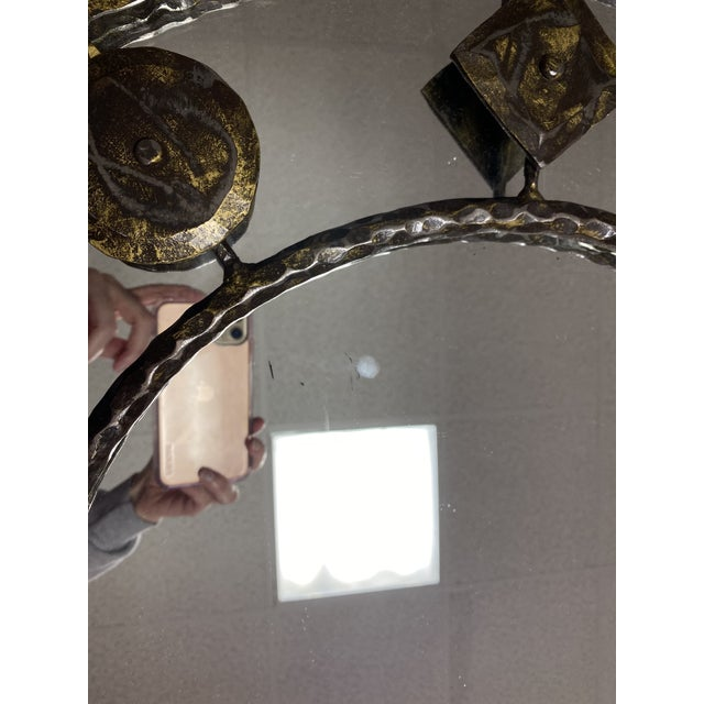 Holly Hunt Holly Hunt Rustic Hammered Iron Decorative Mirror For Sale - Image 4 of 8