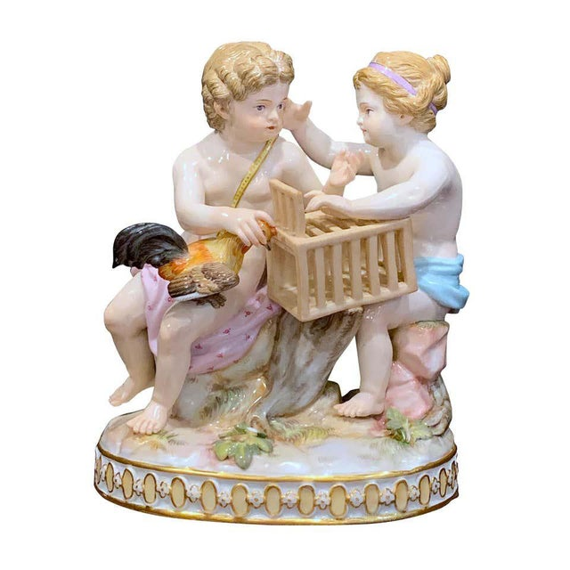 19th Century Meissen Grouping of Two Boys With Rooster and Cage For Sale - Image 11 of 11