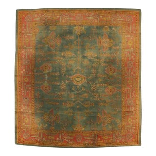 Antique Turkish Oushak Rug with Time-Softened Jewel Tones and Modern Style