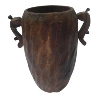 Faux Bois Hand-Carved Wood Vase With Handles For Sale