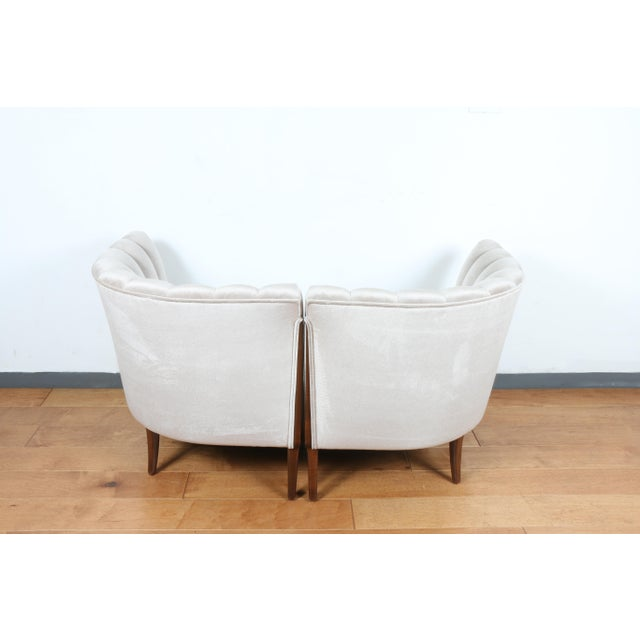 Textile Mohair Hollywood Regency Pair of Chairs For Sale - Image 7 of 13