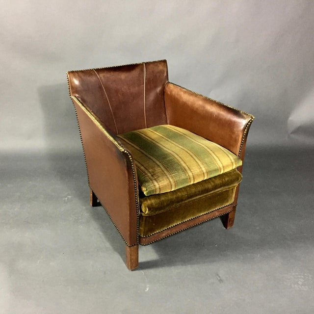 1940s Swedish Square-Back Leather Club Chair For Sale - Image 9 of 11