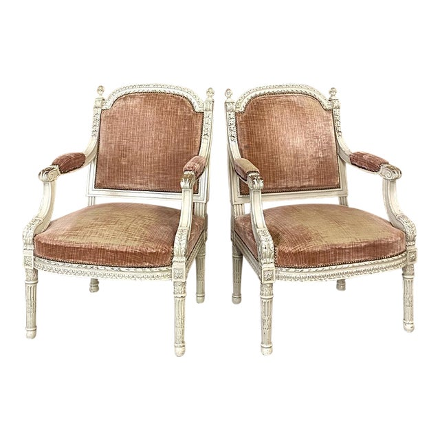 Pair 19th Century French Louis XVI Painted Armchairs ~ Fauteuils For Sale