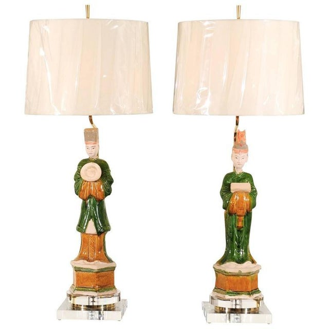 Regal Pair of Chinese Mudmen Figures as Custom Lamps For Sale - Image 11 of 11