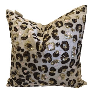 Kate Spade New York Sequined Leopard Print Pillow For Sale