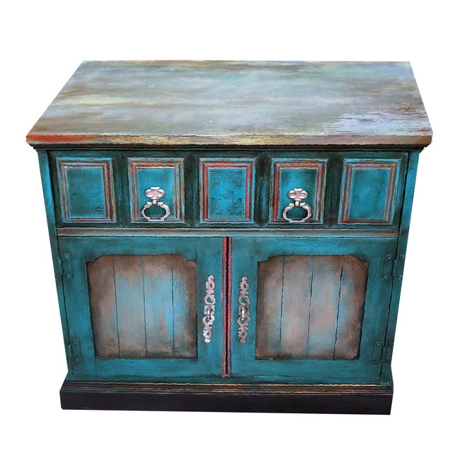 Patrick Briggs 'Blue' 2021 Refinished Wooden Nightstand Storage Credenza For Sale - Image 9 of 9