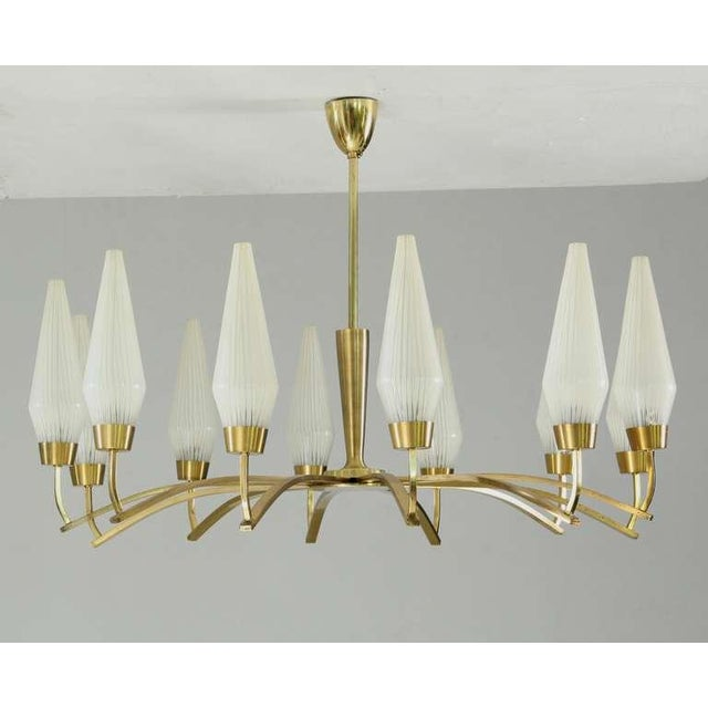Large Twelve-Arm Brass with Opaline Glass Chandelier, Italy, 1950s - Image 2 of 7