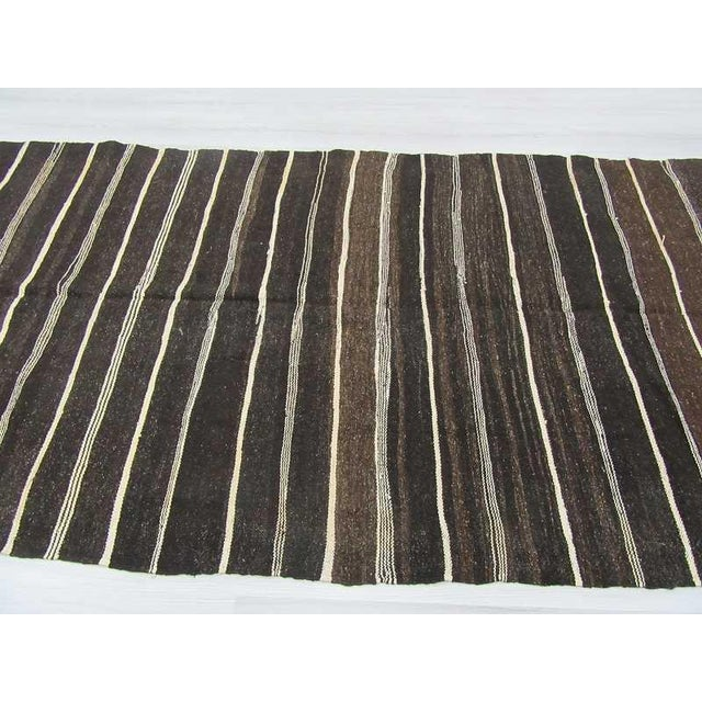 Vintage Natural Stripe Turkish Kilim - 5′6″ × 12′6″ For Sale - Image 4 of 6