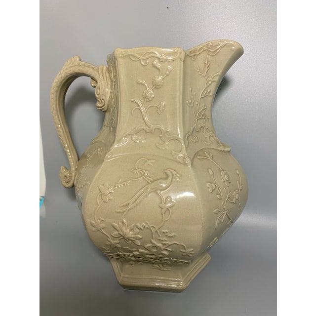 Ceramic Antique Irwin and Lane Chinoiserie Bas-Relief Mason's Ironstone Pitcher For Sale - Image 7 of 7
