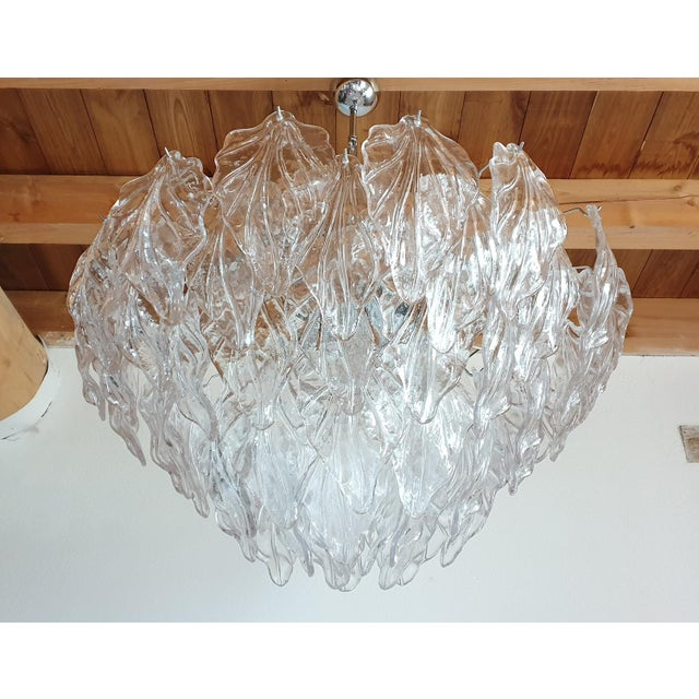 Barovier & Toso 1970s Mid Century Modern Murano Glass Leaves Chandelier For Sale - Image 4 of 11