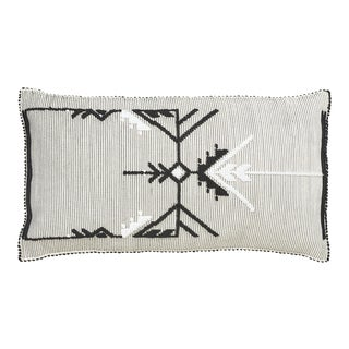 "Schumacher Artiganale Italian Hand Woven Black White 48"" Floor Pillow For Sale"