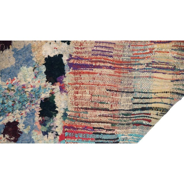 "Boho Chic Vintage Boucherouite Moroccan Carpet - 6'5"" X 4'' For Sale - Image 3 of 3"