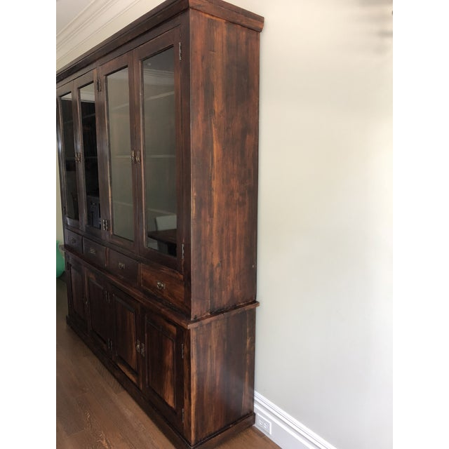 Rustic Indonesian Glass & Wood Breakfront Bookcase For Sale - Image 3 of 9