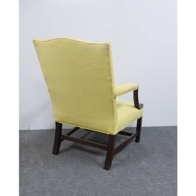 Chippendale 1940s Chippendale Yellow Upholstered Mahogany Library Chair For Sale - Image 3 of 7