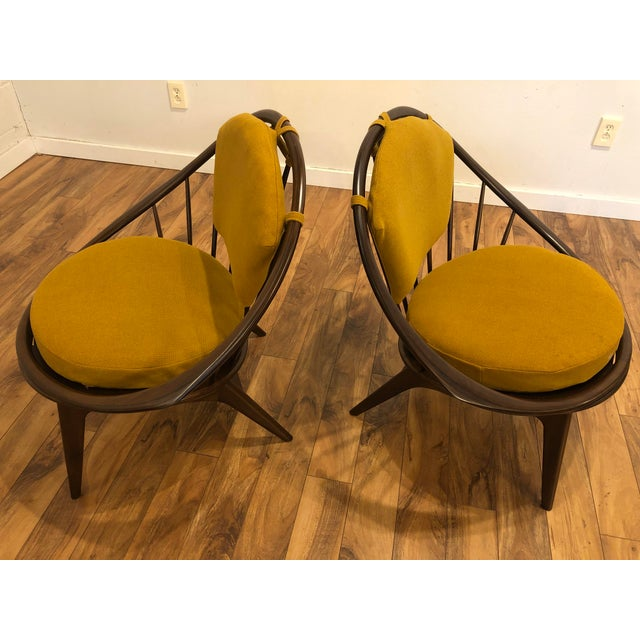 Brown Ib Kofod Larsen for Selig Mid-Century Peacock Lounge Chairs - a Pair For Sale - Image 8 of 13
