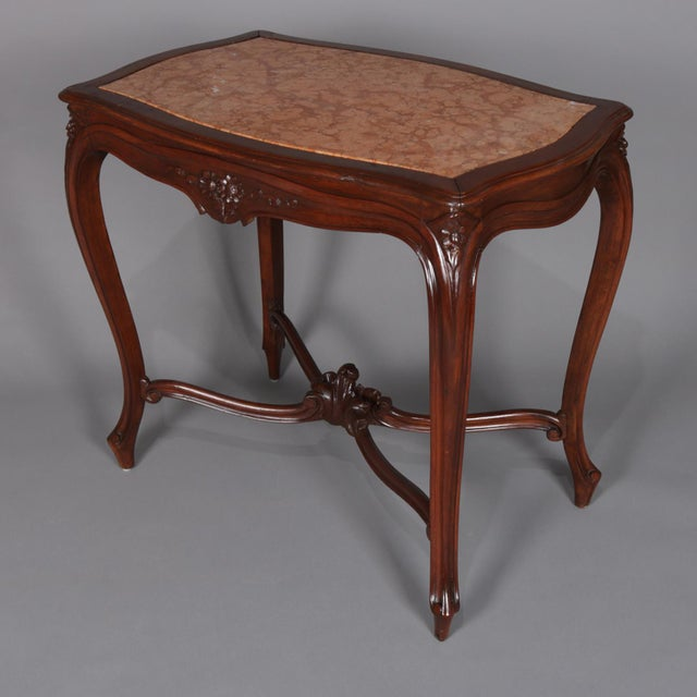 Wood Antique French Louis XV Style Carved Walnut and Marble Center Table, Circa 1900 For Sale - Image 7 of 13