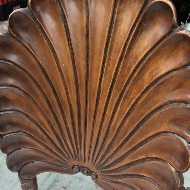 Gorgeous pair of shell chairs handcarved and stamped Italy. In good vintage condition. Some wear