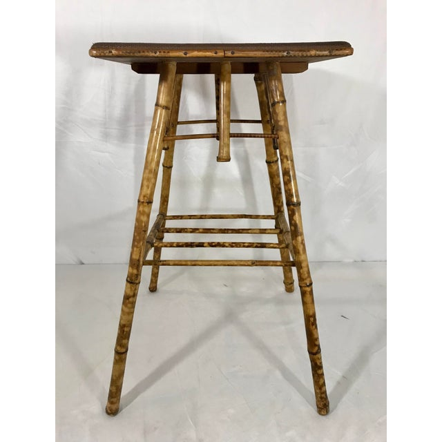 English Victorian Bamboo Side Table For Sale - Image 6 of 8
