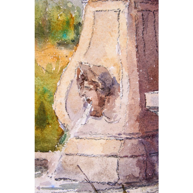 Monory French Garden Fountain Watercolor - Image 2 of 4