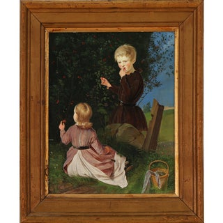 Painting of Two Children Picking Berries For Sale