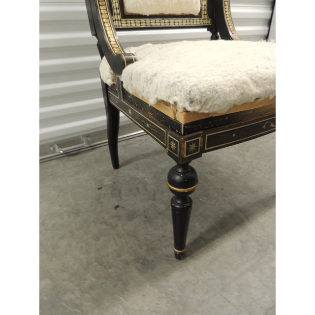 Wood Vintage Moroccan Mother-Of-Pearl Inlaid Frame and Ebonized Wood For Sale - Image 7 of 12