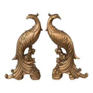 Italian Giltwood Decorative Peacocks - a Pair For Sale