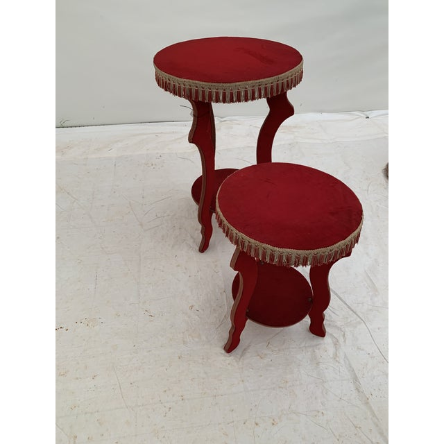 1970s Hollywood Regency Red Fringe Tables - a Pair For Sale In Seattle - Image 6 of 8
