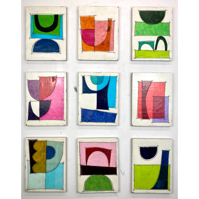 """""""Better Days"""" Encaustic Collage Installation by Gina Cochran - 9 Panel Set For Sale - Image 13 of 13"""