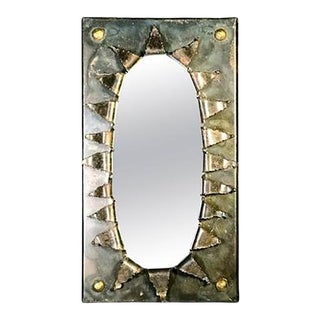 Brutalist Eye Form Mirror in the Manner of Paul Evans For Sale