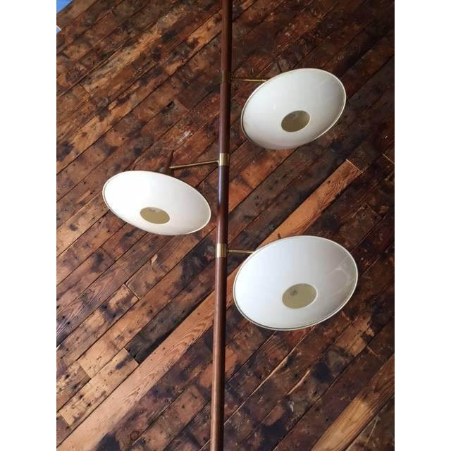 Mid-Century Brass & Wood Tension Pole Lamp - Image 5 of 11