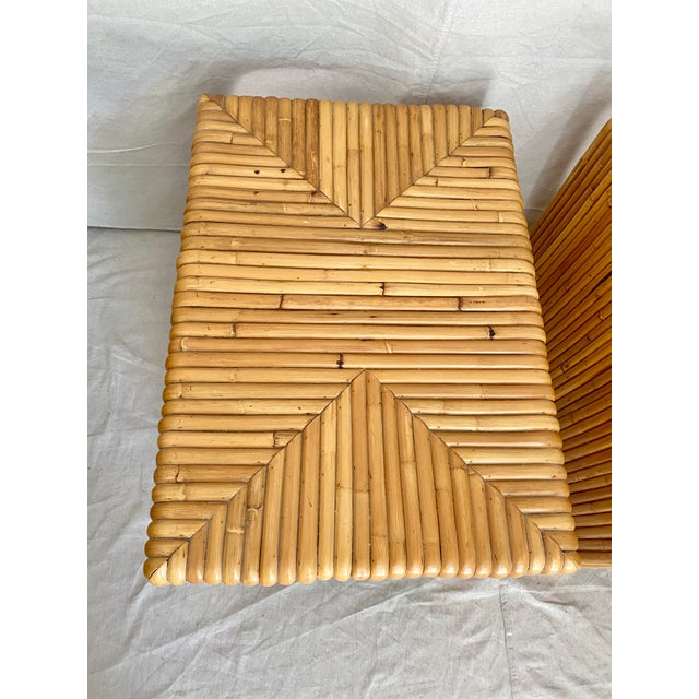 Vintage Split Reed Rattan Waterfall End Tables- a Pair For Sale In Tampa - Image 6 of 13