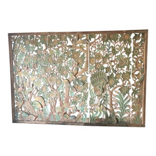 1970s Boho Chic 4 Panel Wood Screen For Sale