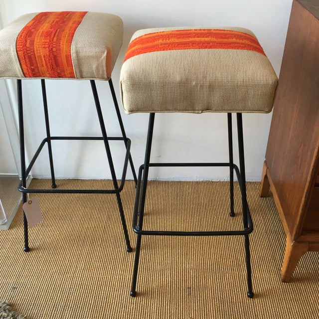 1950s Orange Striped Barstools - A Pair - Image 3 of 9