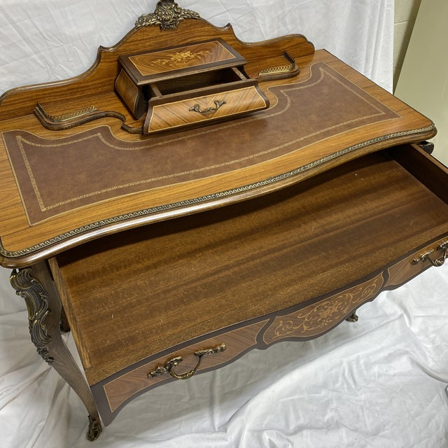 Metal Ladies Writing Desk Ormalu Marquetry For Sale - Image 7 of 13