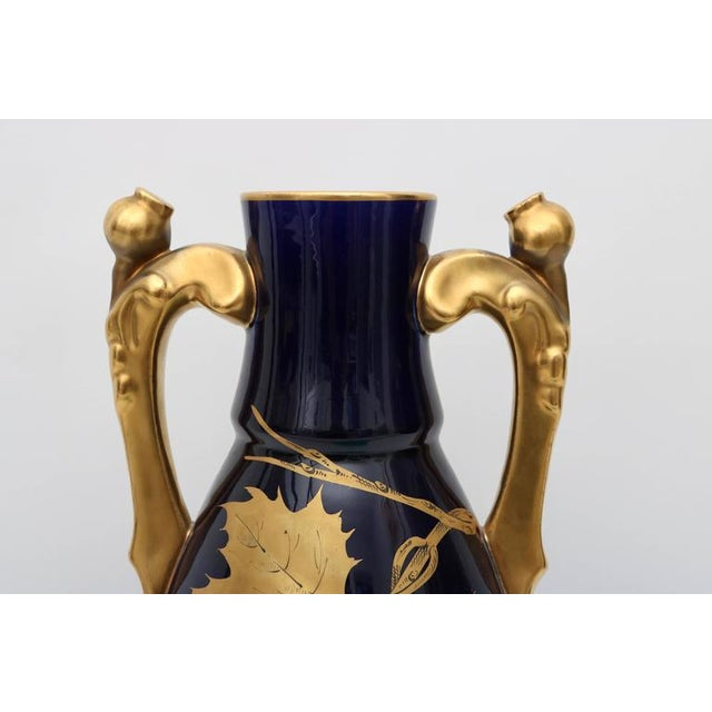 Porcelain Vase by Gustave Asch in Cobalt Blue and Gold, circa 1900 For Sale - Image 4 of 10