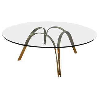 Mid-Century Modern Reversible Brass Cocktail Table