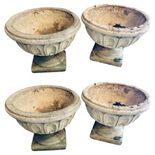 Set of Four Cast Stone Urns or Flower Pots For Sale