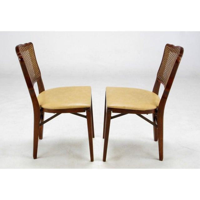 1950s Set of Four Mahogany, Cane & Leather Regency Folding Chairs For Sale - Image 5 of 11