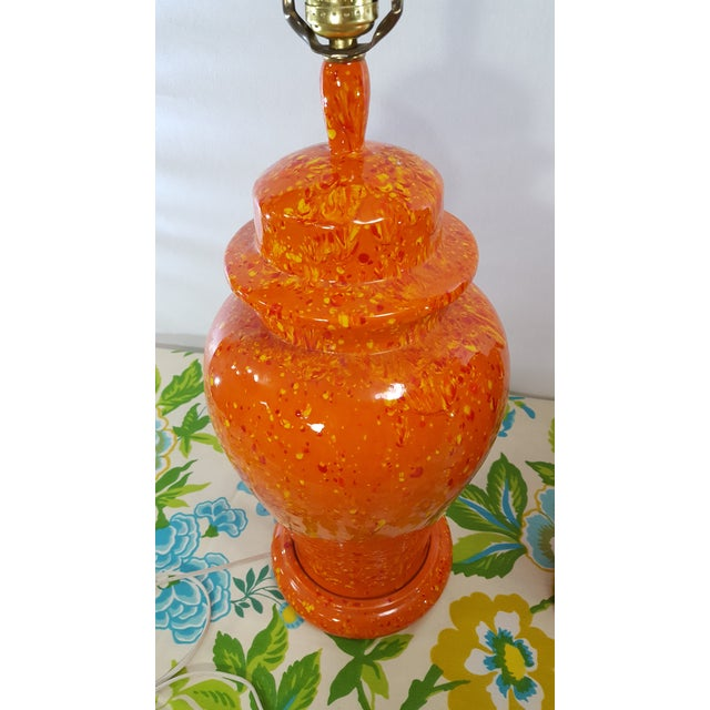 Vintage 1970s Mid-Century Orange Drip Glaze Ginger Jar Lamps - a Pair - Image 7 of 11