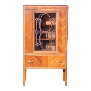1930's Antique Walnut & Glass Art Deco Waterfall Curio China Cabinet Hutch