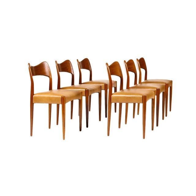 Vintage Mid Century Danish a.h. Olsen for Mogens Kold Teak Dining Chairs- Set of 6 For Sale