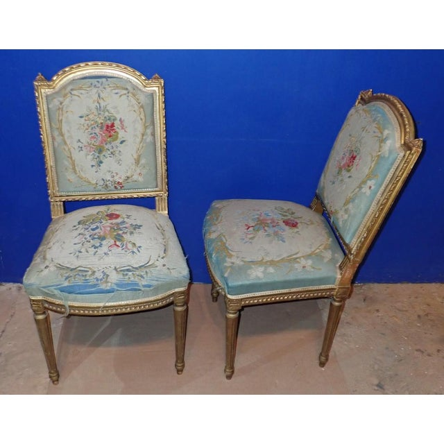 Louis XVI Mid 19th Century Louis XVI Petit Point Embroidered Chairs- A Pair For Sale - Image 3 of 11