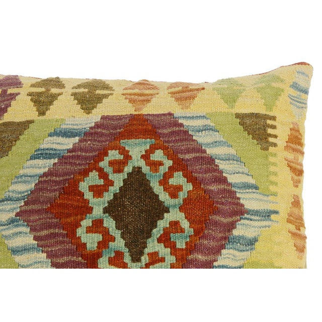 "Claretta Gold/Rust Hand-Woven Kilim Throw Pillow(18""x18"") For Sale - Image 4 of 6"